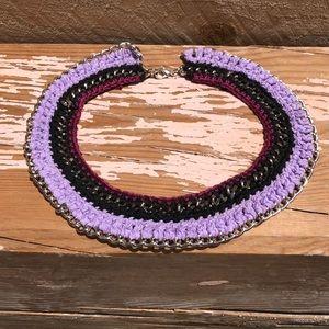 Choker: crochet n metal chain